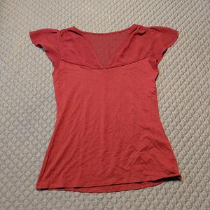 Express Red Sheer Detail Flutter Sleeve Top Medium